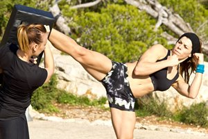 Kickboxing on the beach in Ibiza at 38 Degrees North