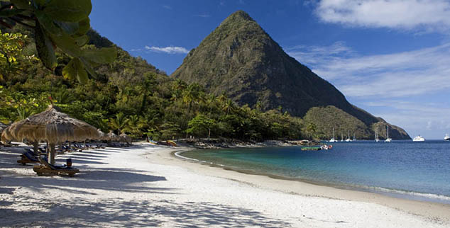 Pitons Beach st Lucia