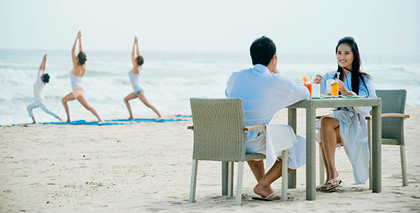 Breakfast and yoga on the beach at Fusion Maia