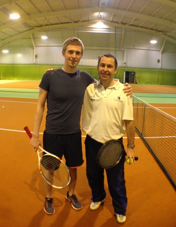 Adam with head tennis coach Danny in the indoor tennis courts at Grayshott Spa