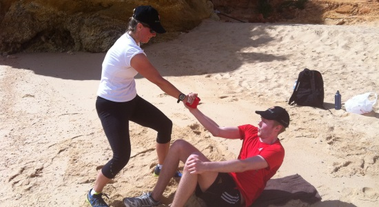 Beach training on the Luxury Algarve Bootcamp