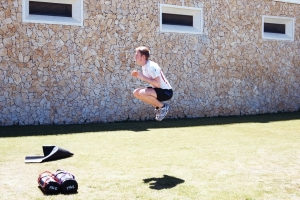 High Squat jump whilst training on the Luxury Algarve Bootcamp
