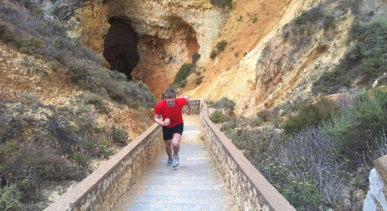 Running up steps on the Luxury Algarve Bootcamp