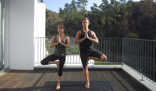 Paul practising yoga at Longevity Wellness Resort with yoga and Pilates expert Angie Newson