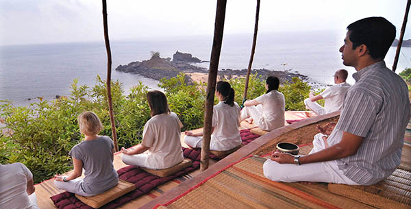 Meditation with an ocean view at SwaSwara Yoga
