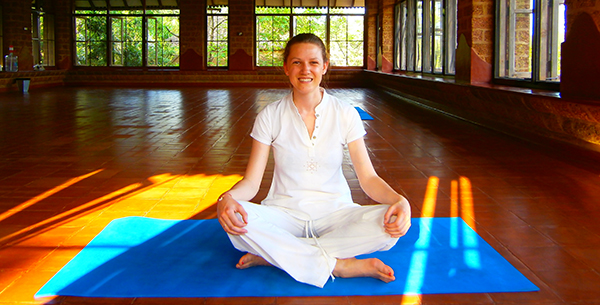 Rebecca in yoga studio at SwaSwara