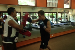 Paul having a Thai boxing lesson at Kamalaya, Thailand