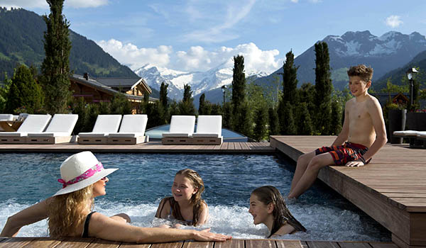Outdoor pool at the alpina gstaad