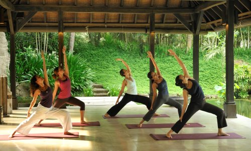 A group yoga class at The Farm at San Benito in the Philippines
