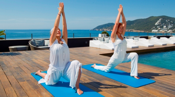 Yoga on the roof terrace at Aguas de Ibiza