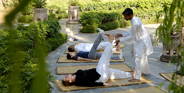Improving circulation with yoga at Ananda's gorgeous amphitheatre
