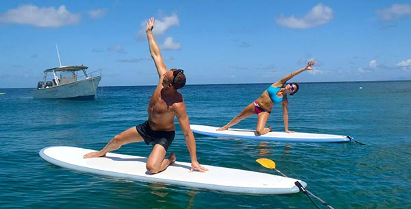 Paddle board yoga at 38 degrees
