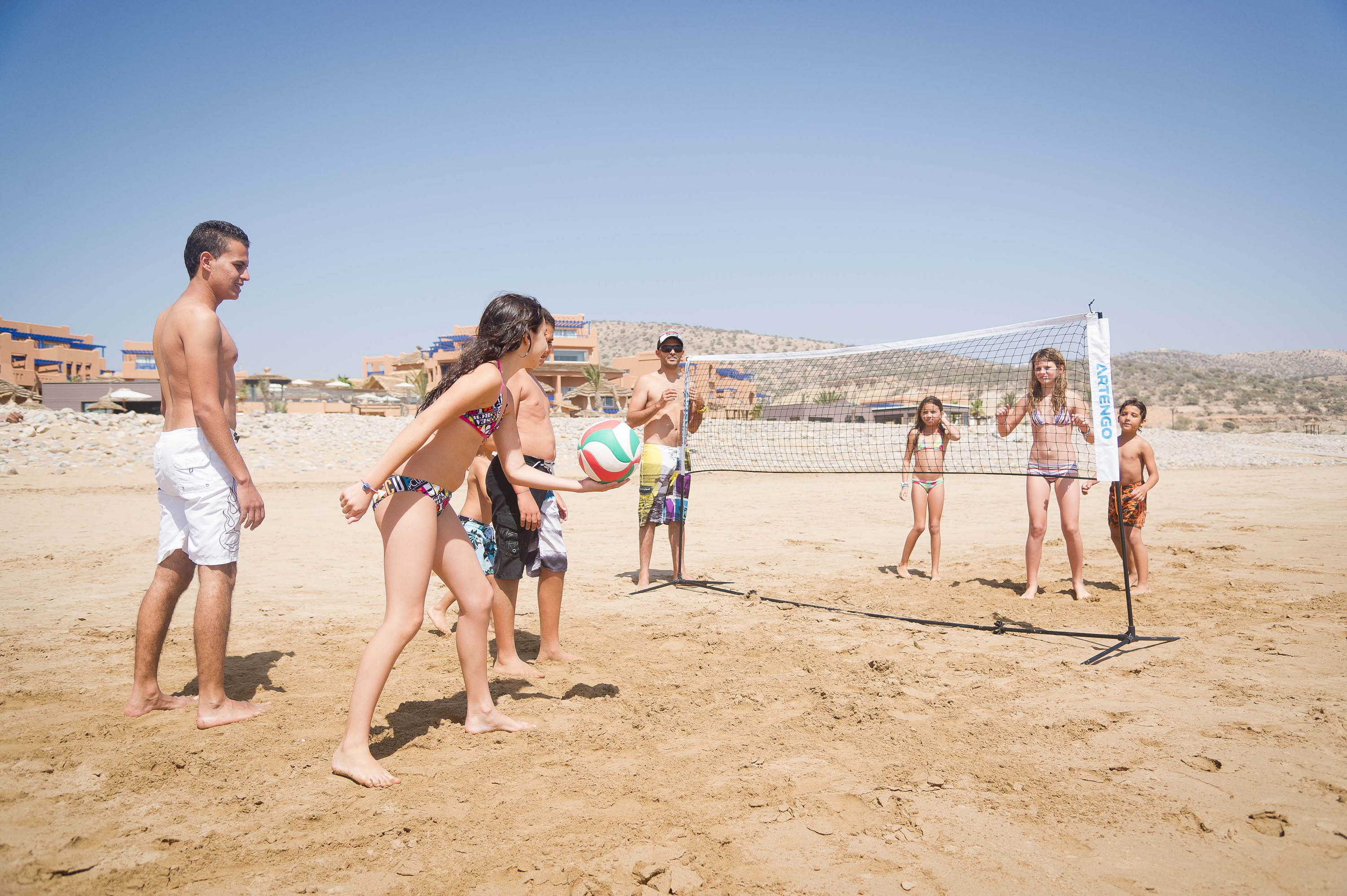 Family volleyball in Morocco