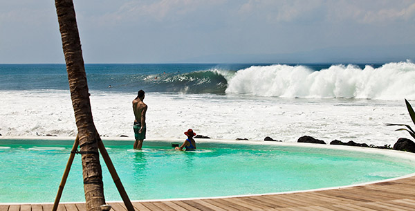 Surfing at Komune Bali