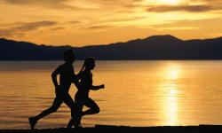Couple running in the evening