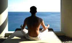 Outdoor meditation looking out to sea